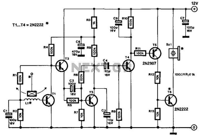 Sensitive Low-Current-Drain Motion Detector - schematic