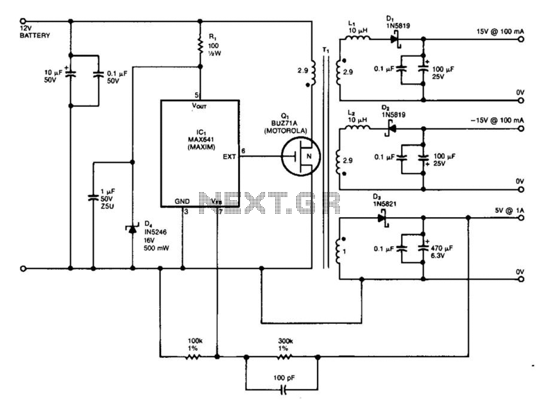 15V And 5V Car Battery Supply - schematic