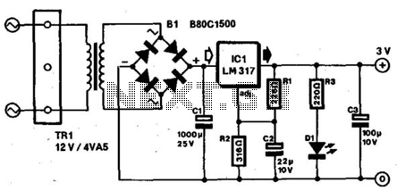 3V Power Supply For Portable Radios - schematic