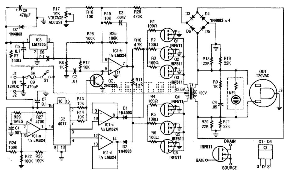 40W 120Vac Inverter - schematic