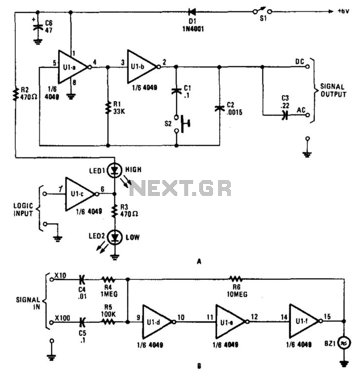Multi-Tester Logic Probe Signal Tracer And Injector - schematic