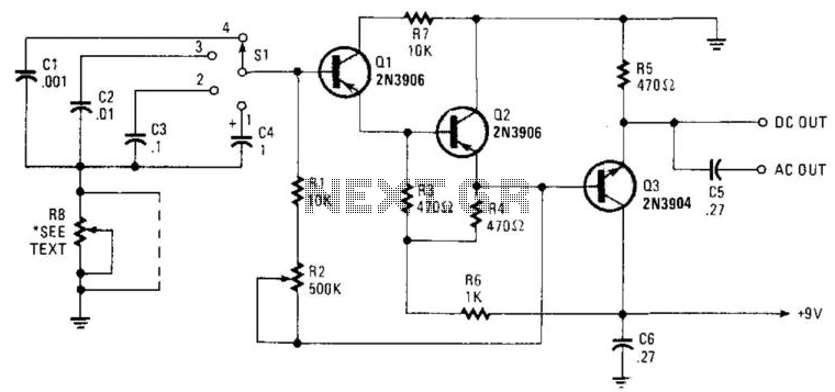 transistor pulse generator under varius circuits