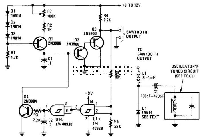 Sawtooth Generator For Sweep Generators - schematic
