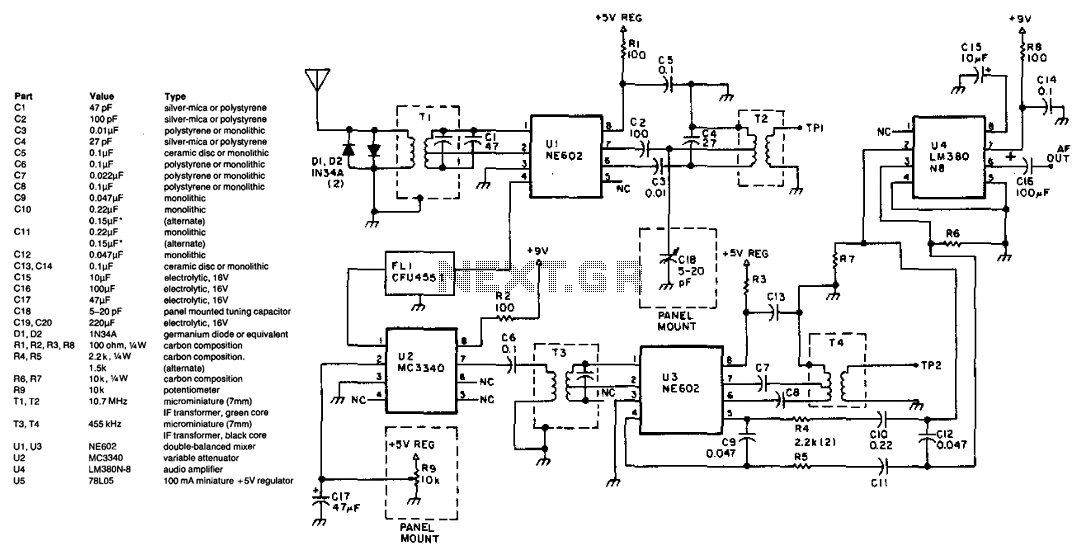 3.5 To 10Mhz Simple Superheterodyne Receiver - schematic