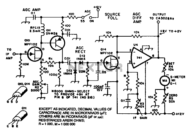 Agc System For Ca3028 If Amplifier - schematic