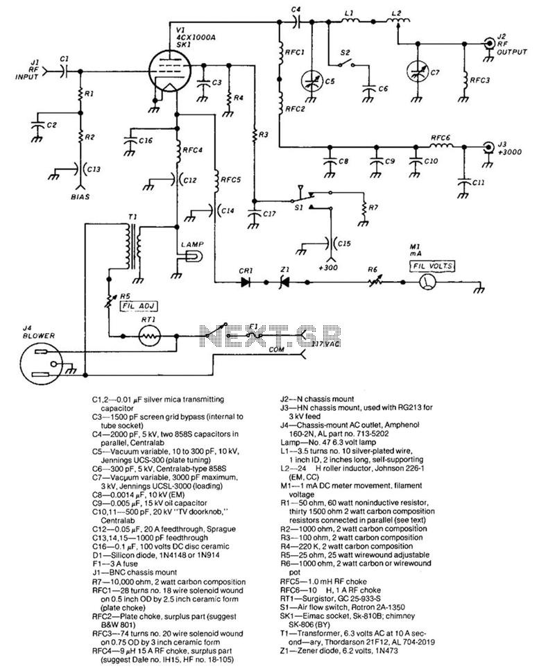 1 500-W Rf Amplifier - schematic
