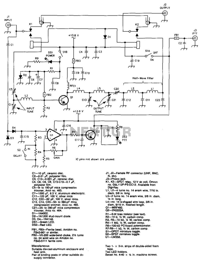 6M 100W Linear Amplifier - schematic
