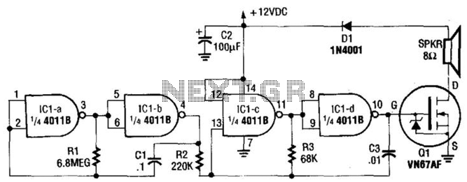 6W Warble-Tone Siren - schematic