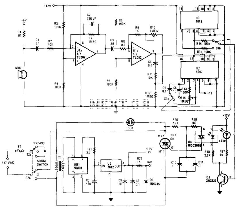 sound-activated switch under switching circuits