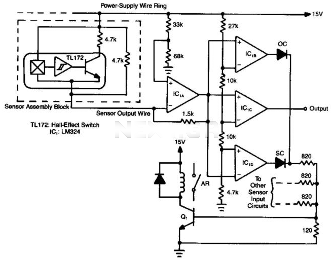 (N + 1) Wires Connect N Hall-Effect Switches - schematic
