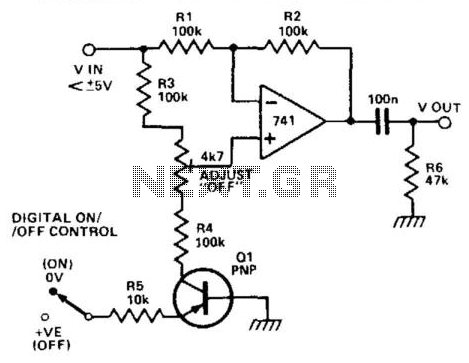 Transistor Turns Op Amp On Or Off - schematic