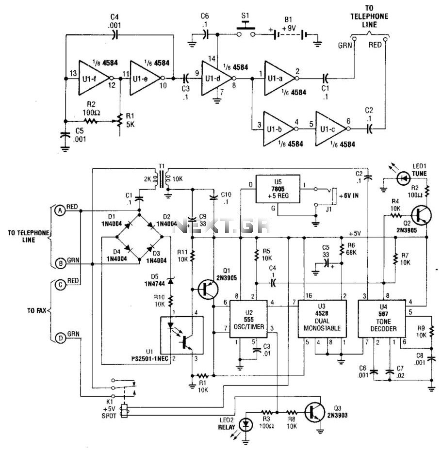 Remote-Controlled Telephone/Fax Machine Switch - schematic