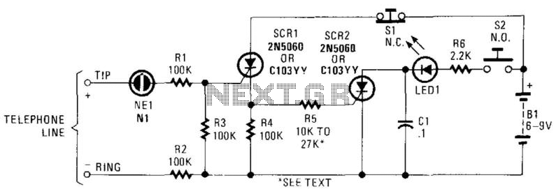 Telephone Visual Ring Indicator - schematic