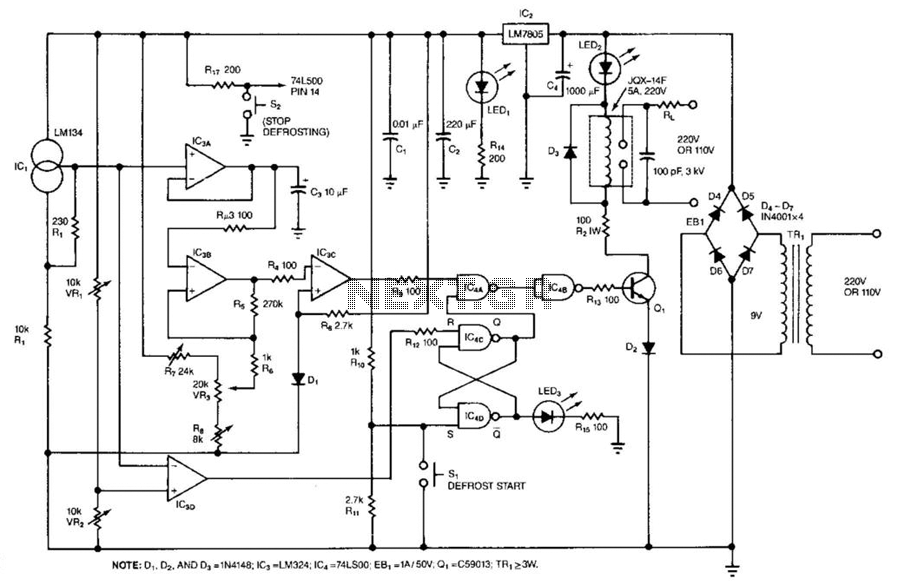 Temperature Controller With Defrost Cycle - schematic