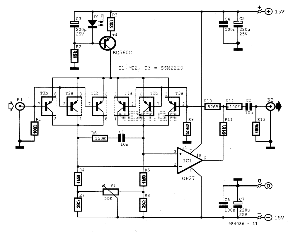 Very Low Noise Pick-up Preamplifier - schematic
