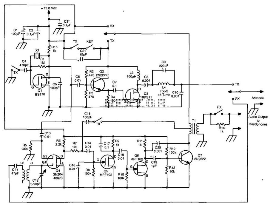5W 80M Cw Transceiver - schematic