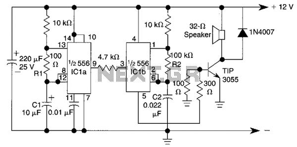 Warble Alarm Circuit - schematic