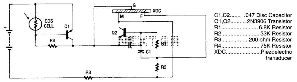 Piezoelectric Alarm Circuit - schematic