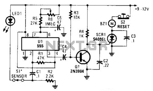 555 Based Alarm Circuit - schematic
