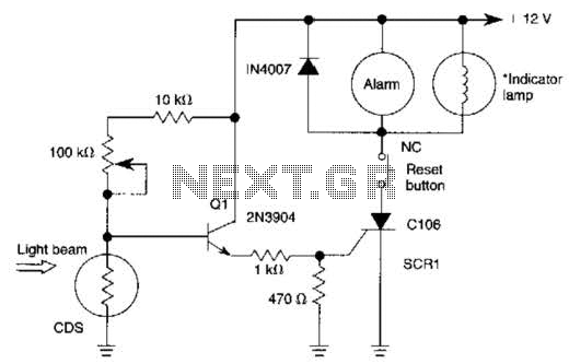 Light-Beam Alarm For Intrusion Detection Circuit