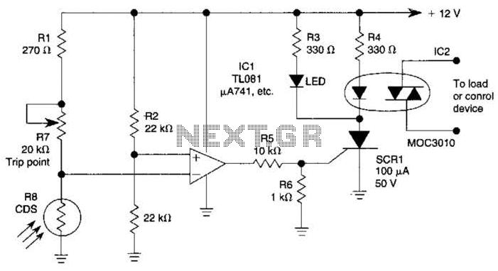 Precision Light-Activated Alarm Circuit - schematic