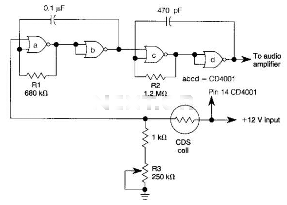 Dark-Activated Alarm With Pulsed Tone Output Circuit - schematic