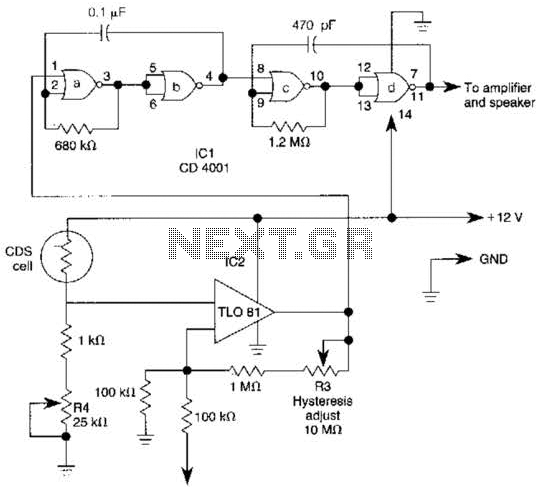 Precision Light Alarm With Hysteresis Circuit - schematic