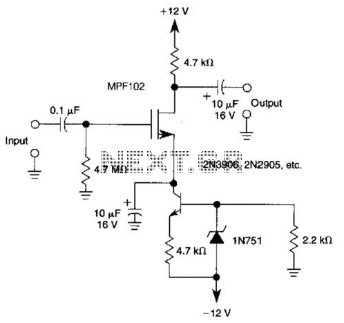 Jfet Amp With Current Source Biasing Circuit
