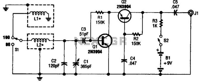 Dual-Band Loop Antenna For 80-160 M Circuit - schematic