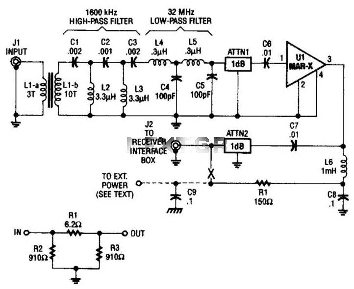 Hf Broadband Antenna Preamp Circuit - schematic