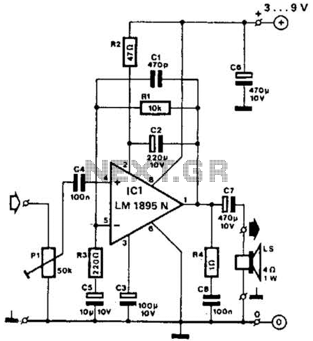 Mini Amplifier Using Lm1895N Circuit - schematic