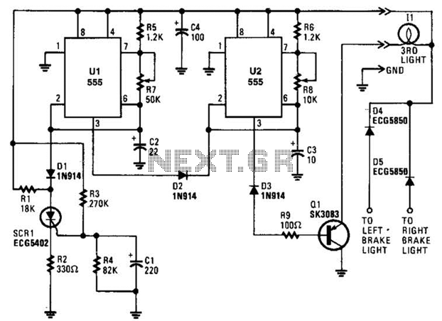 Flashing Brake Light Circuit - schematic