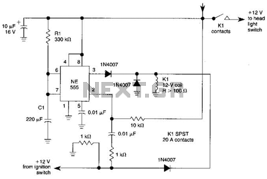 Automatic Turn-Off Control For Automobiles Circuit - schematic