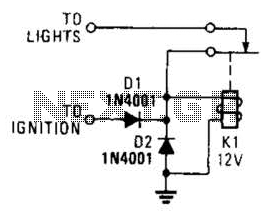 Lights-On Reminder Circuit - schematic