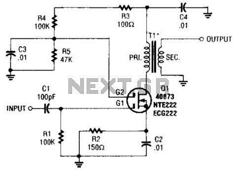 Mosfet Buffer Amplifier Circuit - schematic
