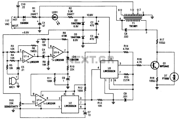 Carrier-Current Baby-Alert Transmitter Circuit - schematic