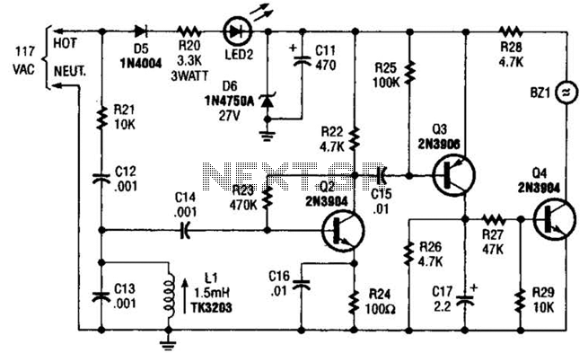 Carrier-Current Baby-Alert Receiver Circuit - schematic
