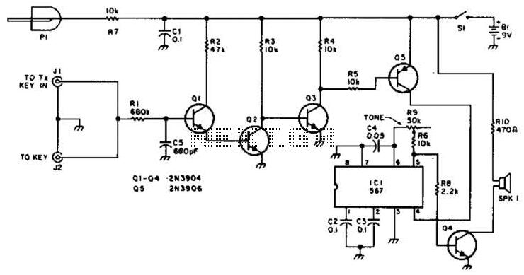 Qrp Sidetone Generator Code Practice Oscillator Circuit - schematic