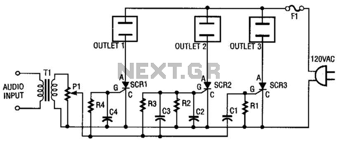 3 Channel Color Organ Circuit - schematic