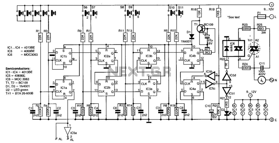 6 Digit Coded Ac Power Switch Circuit