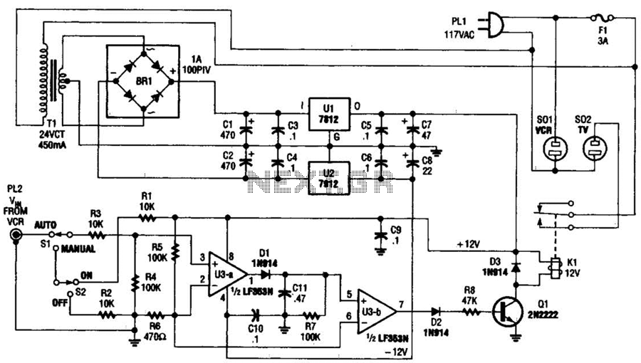 Vcr Tv On-Off Control Circuit - schematic