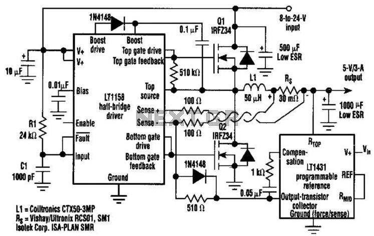 3A Dc-Dc Converter Needs No Heatsink Circuit - schematic