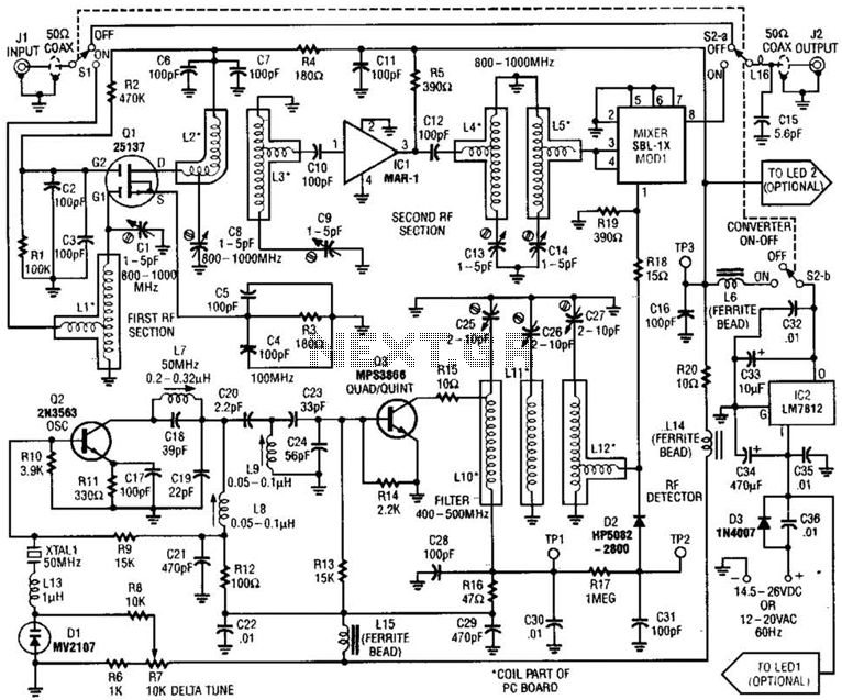 800 To 1000Mhz Scanner Converter Circuit - schematic