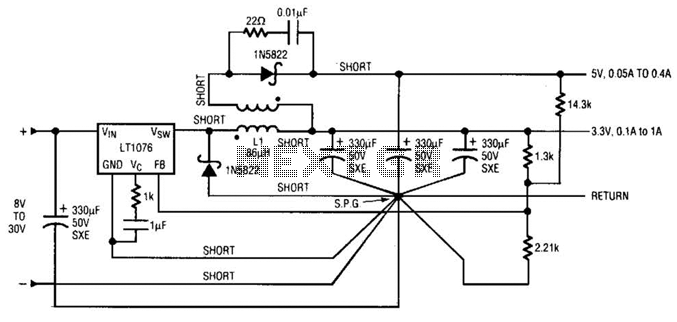Dc-Dc Converter Circuit With 3.3V And 5V Outputs Circuit - schematic