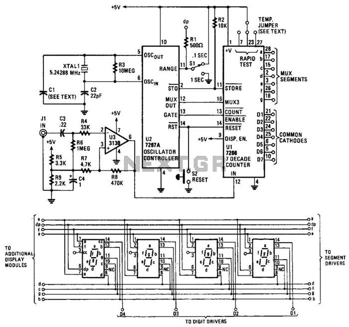 10Mhz Frequency Counter Circuit - schematic