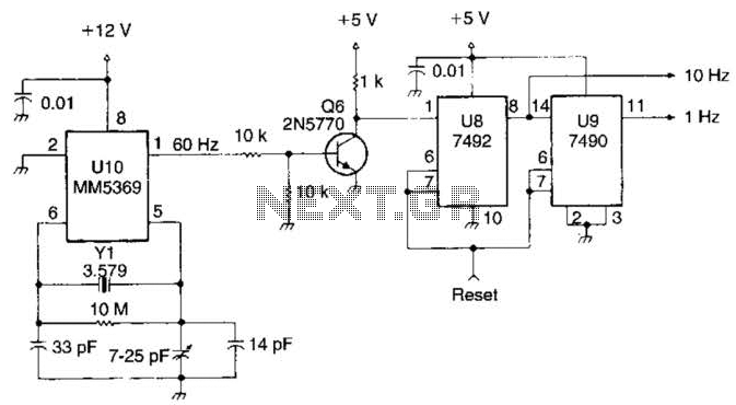 10 To 1Hz Timebase Circuit - schematic