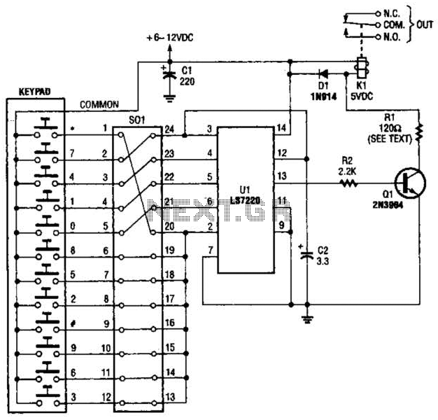 Digital Entry Lock Circuit - schematic