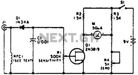 Simple Amplified Field Strength Meter Circuit - schematic