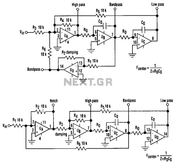 Four-Output Filter Circuit - schematic