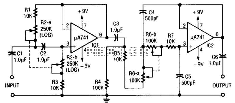 Variable Bandpass Audio Filter Circuit